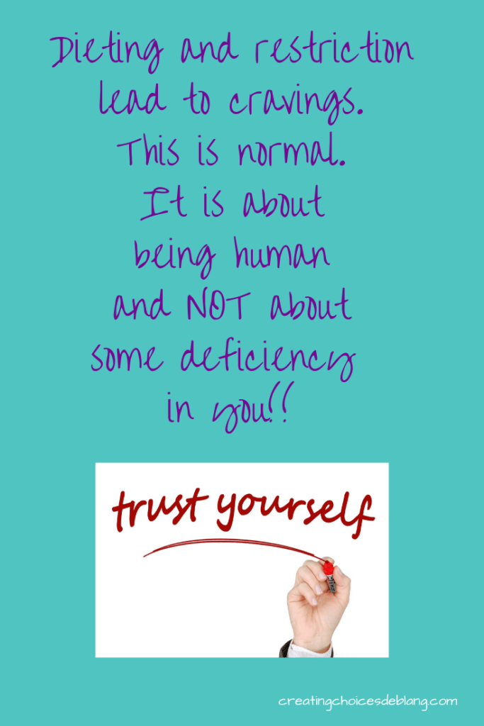 dieting and restriction leads to cravings.  This is normal.  It is about being human and not about some deficiency in you.