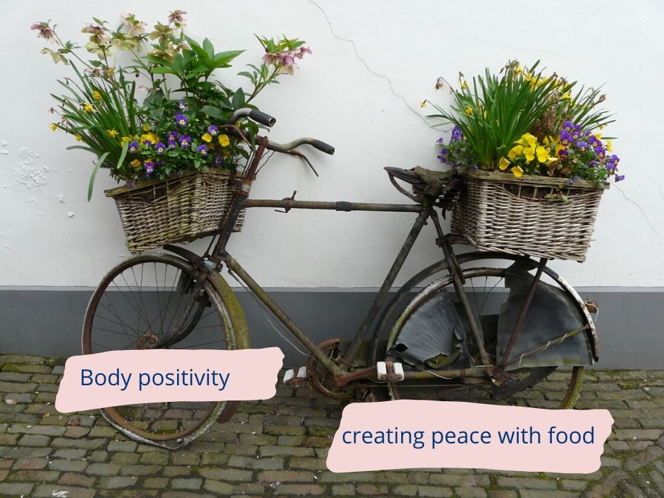 Bicycle with flowers - body positivity - creating peace with food